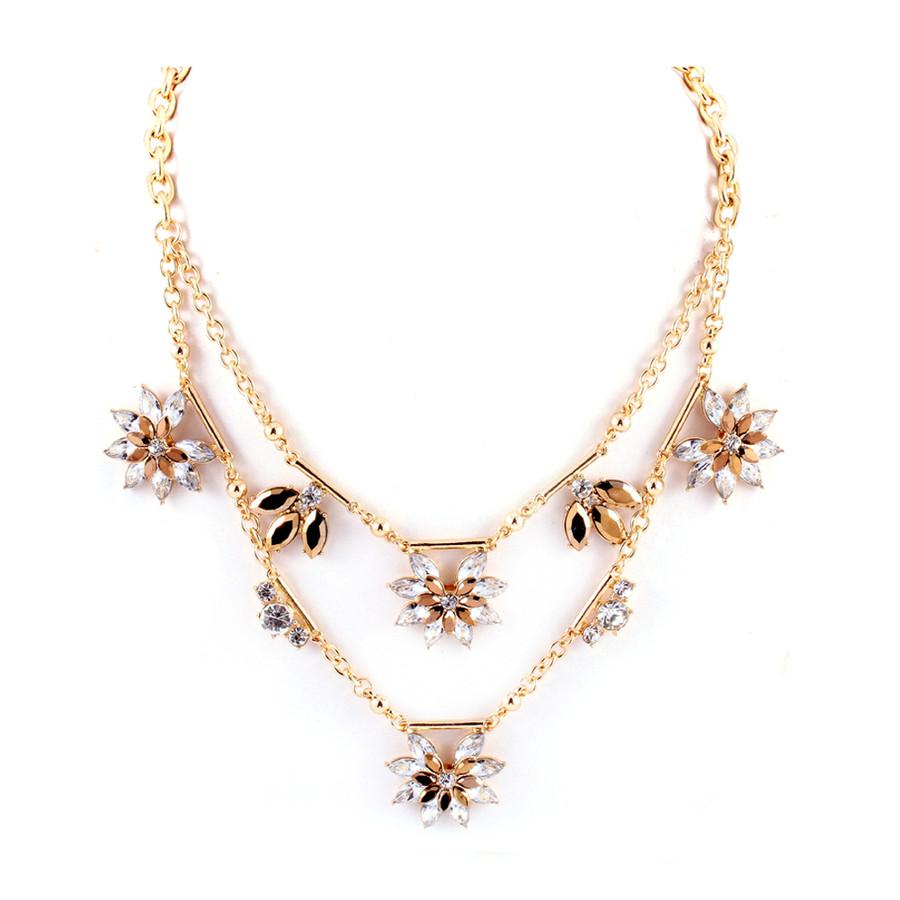 double golden crystal sunburst necklace