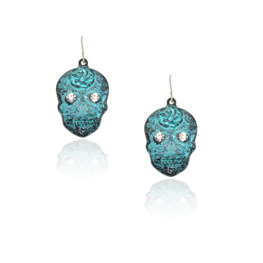 patina sugar skull drop earrings