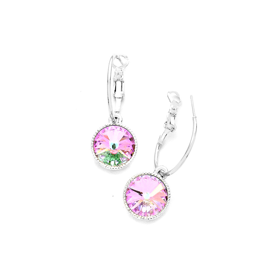 light vitrail Austrian crystal hoop leverback earrings