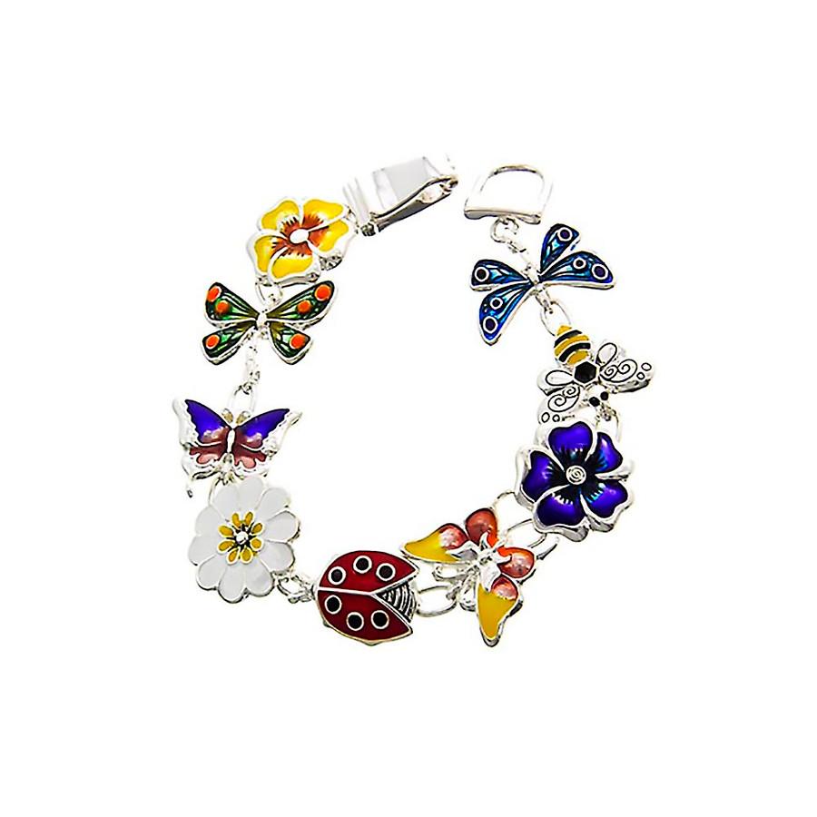 enameled garden creature charm bracelet