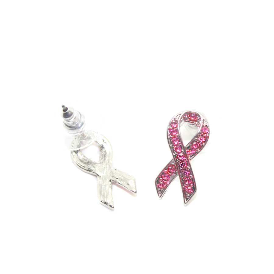 pink crystal ribbon breast cancer post earrings