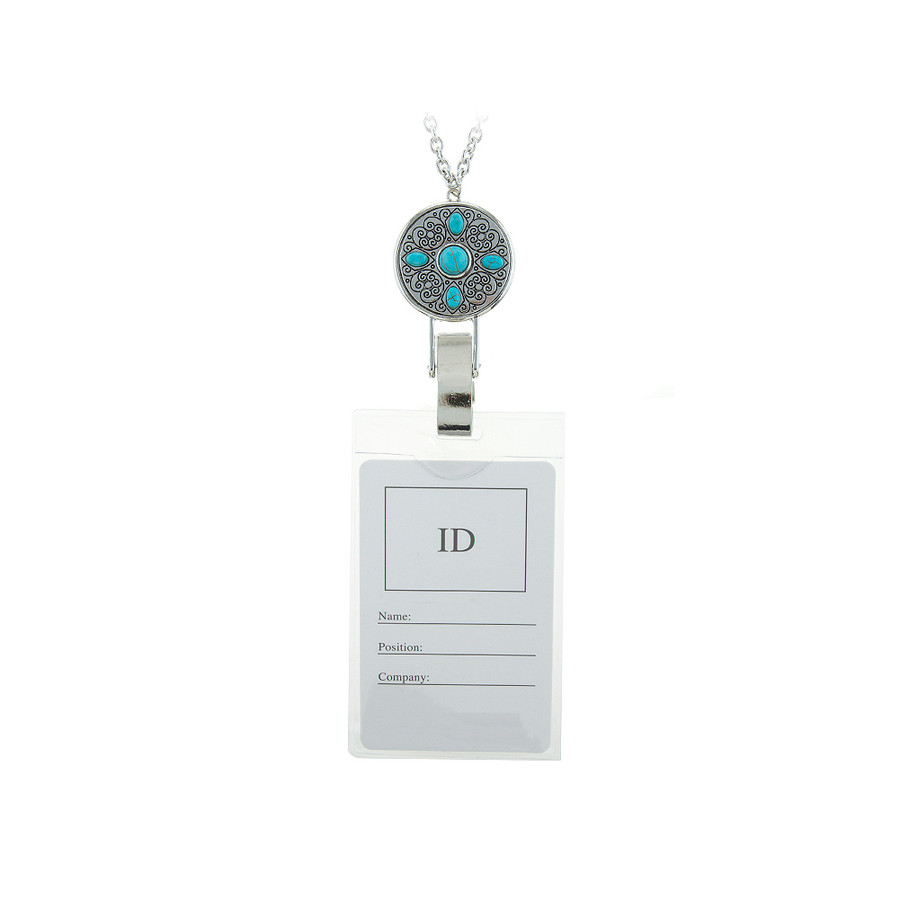 antiqued silver disc and turquoise lanyard chain necklace with id/badge/card holder