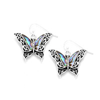 abalone butterfly drop earrings