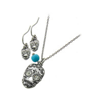 tiny antiqued silver sugar skull pendant necklace and drop earring set