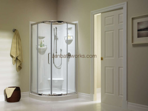 Izia shower with central sliding glass doors.