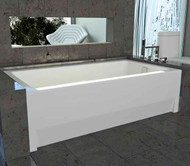 Zora bath for alcove, showing optional front skirt