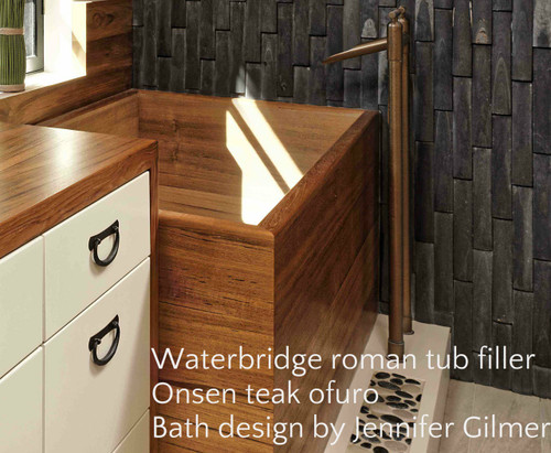Waterbridge tub filler with Onsen teak ofuro