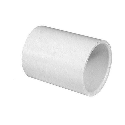 "White PVC Coupling - 1/2"" Slip socket"