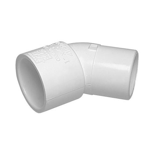 """White PVC Street Elbow - 1-1/2"""" Slip x 1-1/2"""" Spigot, 45 Degrees"""