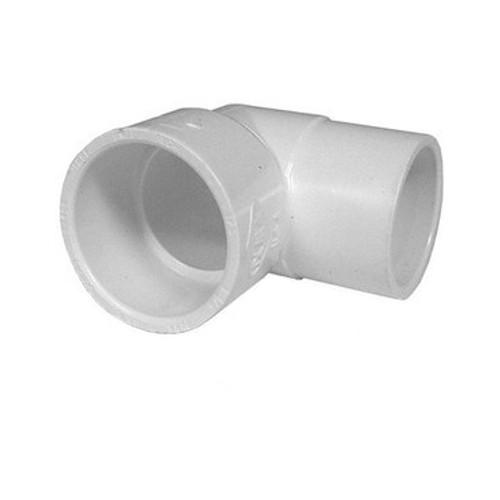 """White PVC Street Elbow - 1"""" Slip x 1"""" Spigot, 90 Degrees"""