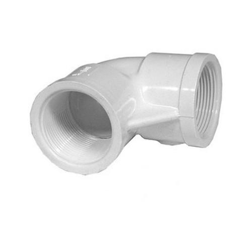 """White PVC Elbow - 1-1/2"""" FPT x 1/2"""" FPT, 90 Degrees"""