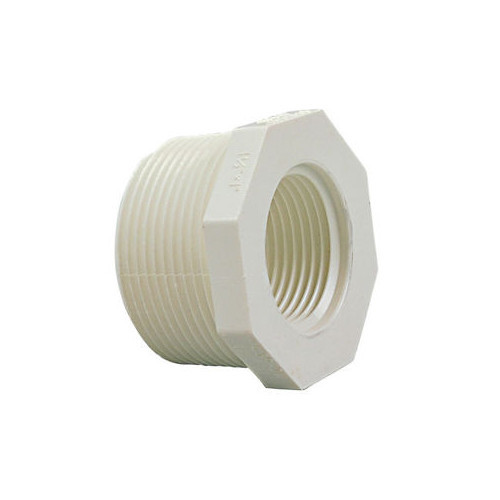 "White PVC Threaded Bushing - 3/4"" MPT x 1/2"" FPT"