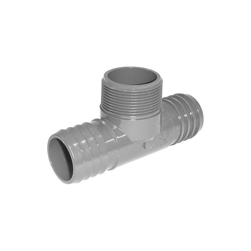 "PVC Insert Fitting Tee- 1-1/2"" Barbed x 1-1/2"" Barbed x 1-1/2"" MPT"