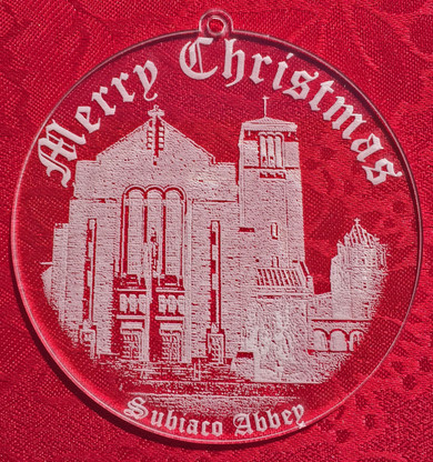 St. Benedict Church- 3.25 inch diameter –an etched design of the entrance to St. Benedict Church at Subiaco with Merry Christmas and Subiaco Abbey lettering