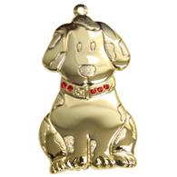 Goldtone Dapped Dog Ornament