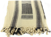 WOVEN COALITION SCARVES 42X42 - Sand/BLK