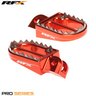 RFX Pro Series Shark Teeth Footrests (Orange) KTM SX65 02-17 SX/EXC/SXF/EXCF 125-525 00-15