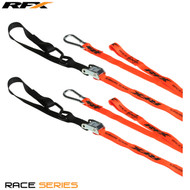 RFX Race Series 1.0 Tie Downs (Orange/Black) with extra loop & carabiner clip