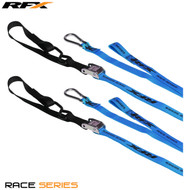 RFX Race Series 1.0 Tie Downs (Blue/Black) with extra loop & carabiner clip