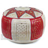 Red / Beige Fez Moroccan Leather Pouf