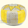 Yellow / Beige Fez Moroccan Leather Pouf