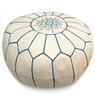White with Blue Stripes Moroccan Leather Pouf