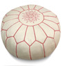 White with Pink Stripes Moroccan Leather Pouf