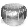 Metallic Silver Moroccan pouf