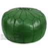 Dark Green Moroccan Leather Pouf