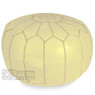 Cream Moroccan Leather Pouf
