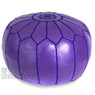 Purple Moroccan Leather Pouf