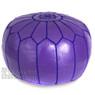 Purple Moroccan Leather Pouf