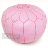 Pink Moroccan Leather Pouf