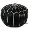 Black Moroccan Leather pouf  with white Stripes