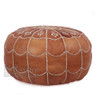 Dark Tan Moroccan Leather Pouf with arch design