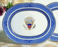 Mottahedeh Indigo Wave / Diplomatic Platter with Eagle 13.75""