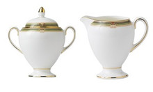 Wedgwood Oberon Border Globe Covered Sugar & Creamer