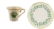 "Lenox Holiday Cup 6 Oz & Saucer 6"" Set of 4"
