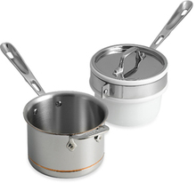 Copper-Core Sauce Pan 2 Qt. w/ Porcelain Double Boiler