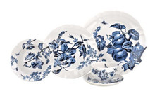 "Reed & Barton Austin Floral Indigo 5-Piece. Placesetting, Dinner Plate 10 1/2""D, Salad Plate 8 1/2""D, All Purpose Bowl            7 1/2""D, Tea Cup 3 7/8""D, Saucer 6 1/8""D."