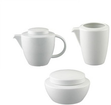 Thomas Vario White Tea Pot  46 Oz & Creamer 8 Oz & Covered Sugar Bowl 10 Oz