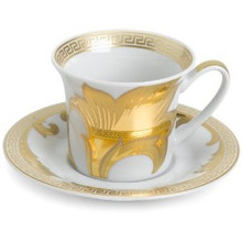 "Versace Arabesque Gold After Dinner Cup (3oz) & A.D. Saucer (4.3"")"