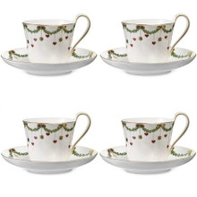 Royal Copenhagen Star Fluted Christmas Cup & Saucer (2503091) 4 Sets