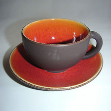 Jars Tourron Orange Jumbo Cup 15.2 oz. & Saucer (Set of 2)
