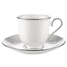 "Lenox Hannah Platinum Cup 6 Oz & Saucer 6"" Set of 4"