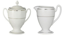 Waterford Baron's Court Creamer 8 Oz & Covered Sugar 8 Oz