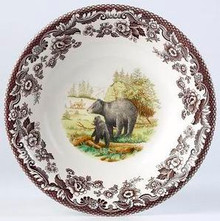 "Spode Woodland American Wildlife Black Bear Dinner Plate 10.5"" (Set of 4)"