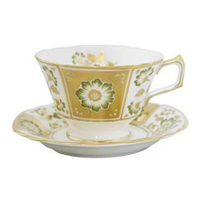 Royal Crown Derby Panel Green Breakfast Cup & Saucer