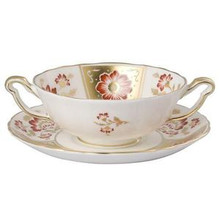 Royal Crown Derby Panel Red Cream Soup Cup & Stand 8 oz.