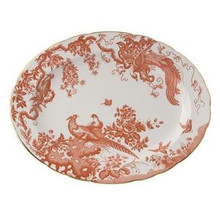 """Royal Crown Derby Red Aves Oval Platter 15"""""""